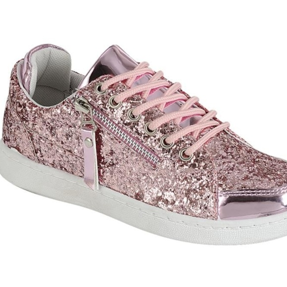 New Pink Glitter Sequins Sneakers Shoes